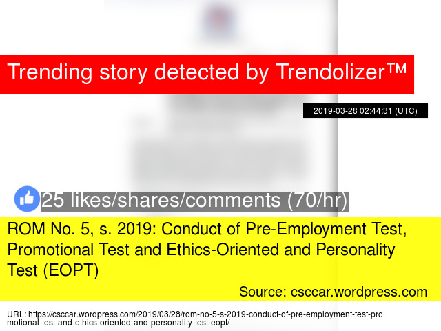 ROM No  5, s  2019: Conduct of Pre-Employment Test